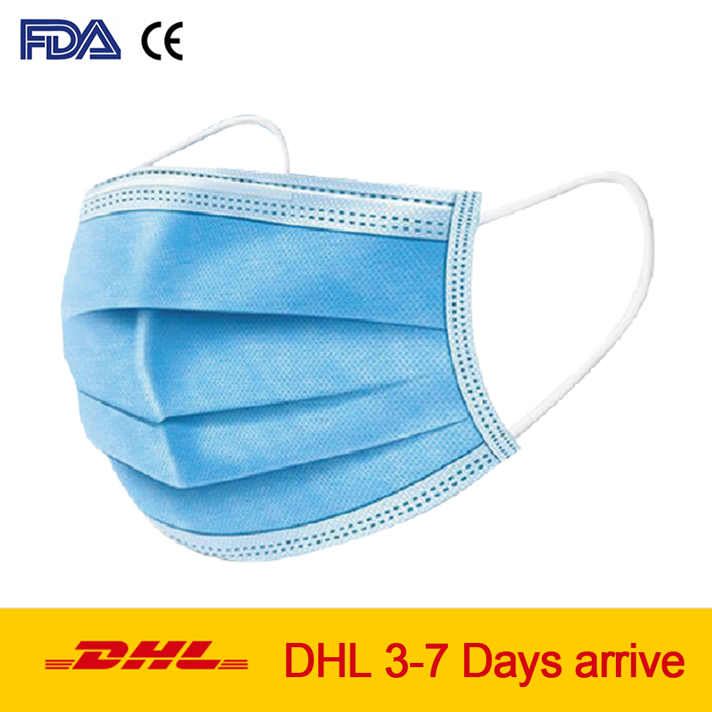 3-layer Protective Disposable Face Mask Anti-bacterial Mouth Cover Anti Dust Face Mask Elastic Ear Loop Dust Filter Safety Mask