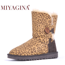 MIYAGINA Top Quality Genuine Sheepskin Leather Snow Boots Natural Fur Waterproof Women Boots Warm Wool Winter Shoes