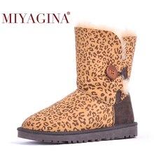 Miyagina qualidade superior genuíno couro de pele carneiro neve botas de pele natural à prova dwaterproof água botas femininas de lã quente sapatos de inverno