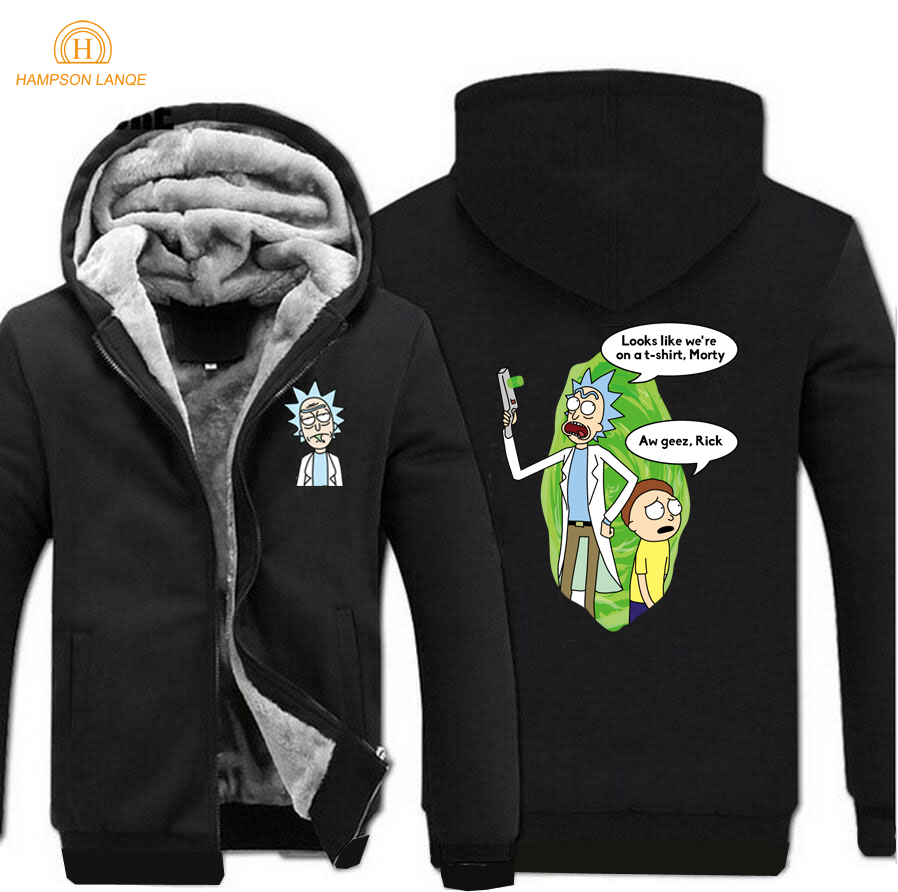 Men Thick Winter Fleece Warm Jacket Rick And Morty Coat On The Hoodie Coats Jackets Winter Sweatshirt Hoodies Streetwear Jackets