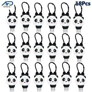 18pcs Cute Cartoon Panda Silicone Mini Hand Sanitizer Portable Split Bottles No Clean Detachable Cover Travel Bottle for Kids