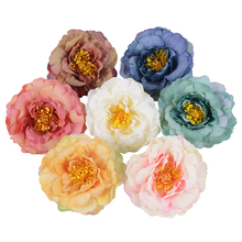 2/5Pcs 9CM Large Artificial Peony Flower High Quality Fake Flower For Wedding Party Home Decoration DIY Wreath Gift Clip Flower yooromer 5pcs lot 8 5cm high quality peony flower head silk artificial flower wedding decoration diy garland craft flower