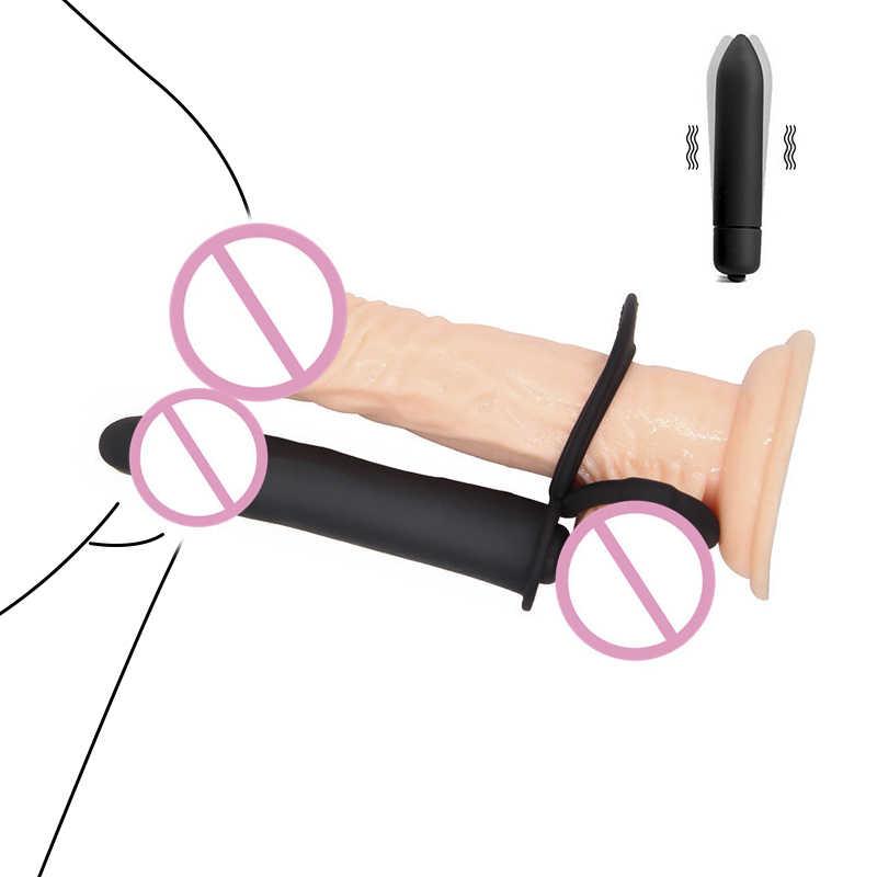 Morbido Doppia Penetrazione Vibratore Giocattoli Del Sesso Del Pene Strapon Dildo Vibratore Anale Spina di Vibrazione Butt Intimo Prodotto Del Sesso per Le Coppie