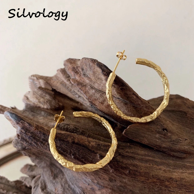 Silvology 925 Sterling Silver C shape Big Earring Gold Irregular Foil Paper Exaggeration Earrings for Women Fashion Jewelry Gift