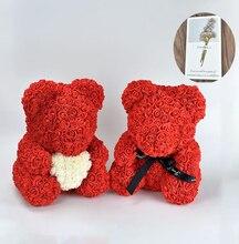 Hot 40cm czerwone kwiaty miś róża kwiaty sztuczny kwiat kwiat róży dla kobiet walentynki ślub urodziny prezent na boże narodzenie