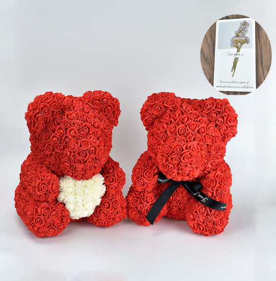 Hot 40cm red flowers Teddy Bear Rose flowers artificial flower rose flower For Women Valentines Wedding Birthday Christmas GiftArtificial & Dried Flowers   -