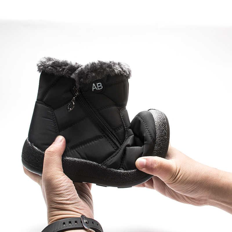 Fujin kar botları kış sıcak kısa peluş moda Dropshipping yuvarlak ayak düz alt katı Metal dekorasyon rahat kadın botları