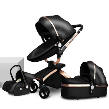 Luxury Leather 3 in 1 Baby Stroller Two Way Suspension 2 in 1 Stroller Safety Car Seat Newborn Bassinet baby carriage pram Fold image