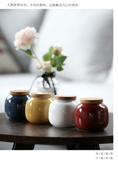 Small ceramic pot household ceramic sealed pot simple pot retro small ceramic pot storage pot Japanese style