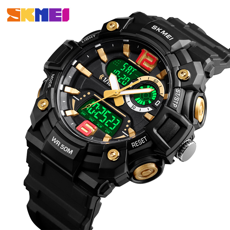 SKMEI Men Watches Men Sports Watches Fashion Dual Display 5Bar Waterproof Luminous 3 Time Multi-Function Watch 1529 Montre Homme