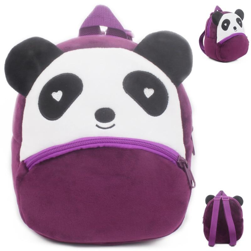 Plush Cartoon Animal Backpack Cute Cat Dog Panda School Bag Baby Children Double Shoulder Bag For Kindergarten Girl Boy