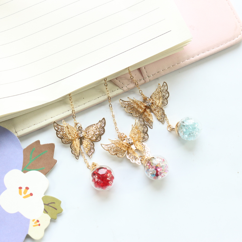 Domikee Cute Kawaii Creative Gold Color Metal Butterfly Leave Shapes School Bookmarks Planner Accessories Stationery Gift Swrap