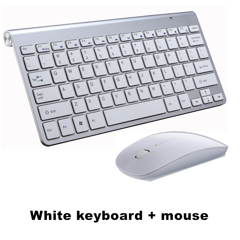 Ультра тонкая беспроводная клавиатура портативная 2,4G миниатюрная клавиатура с тачпадом Набор для Mac/notebook/tv Box/PC офисные принадлежности для IOS Android - Цвет: White keyboard set