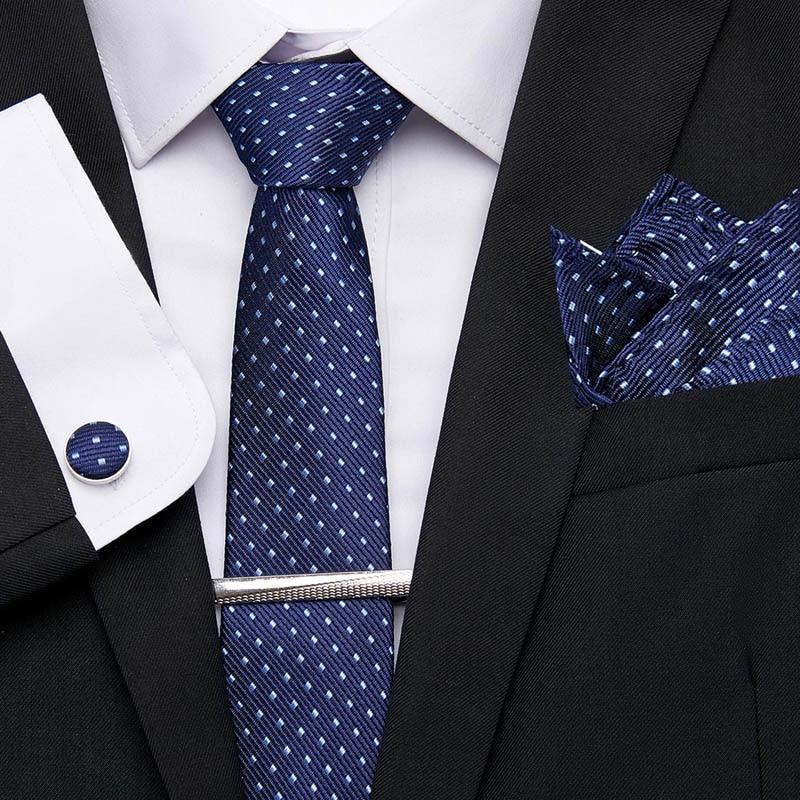New Luxury Men's Male  Red Dot Tie Handkerchief Set Black Dot 7.5cm Necktie Pocket Square Tie Clip  For Men Wedding Accessories