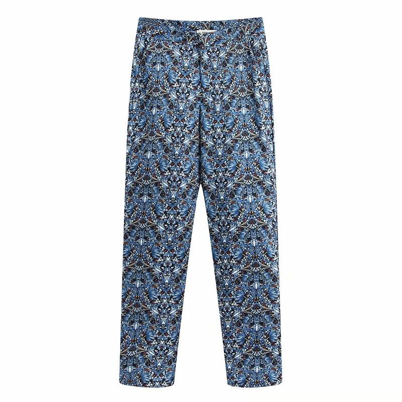 Women Fashion Flower Print Pocket Long Straight Pants Femme Leisure Zipper Trousers Office Lafy Wear Casual Slim Chic Pants P602