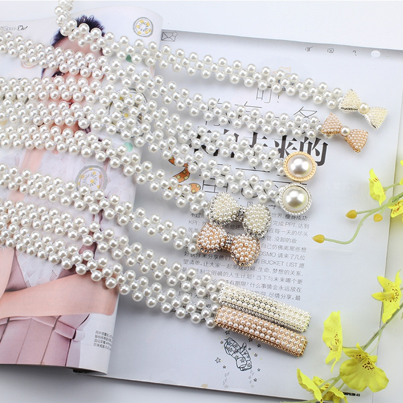 Elegant Women  Fashion Pearl Waist Belt Elastic Buckle Pearl Chain Belt Female Girls Sweet Dress Crystal Strap New