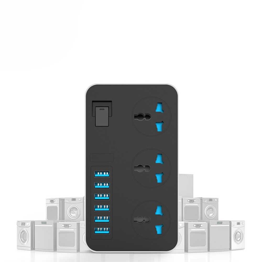 Adaptador de enchufe inteligente USB, tira de alimentación con Protector de sobretensión de 3 puntos de venta Universal con enchufe eléctrico, cable de extensión de 2m para UE/EE. UU./ru/AU