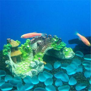 Image 3 - Aquarium Fish Tank Vintage Decorative Bridge Landscape Ornaments Pavilion Tree Plants Resin Design Pet Supplies Home Decorations