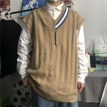Autumn Sweater Vest Men's Fashion Casual V-neck Knitted Pullover Men Streetwear Loose Korean Vest Knitting Sweaters Mens Clothes zozowang 2019 autumn army vest v neck print camouflage single breasted vest men fashion pockets plus size loose waist coat men