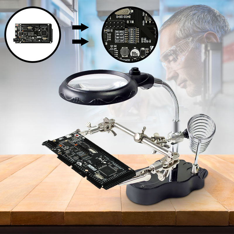 Multifunctional LED Light Magnifier Glass Desk Lamp Helping Hand Repair Clamp Clip Stand Desktop Magnifying Tool Led Desk Light