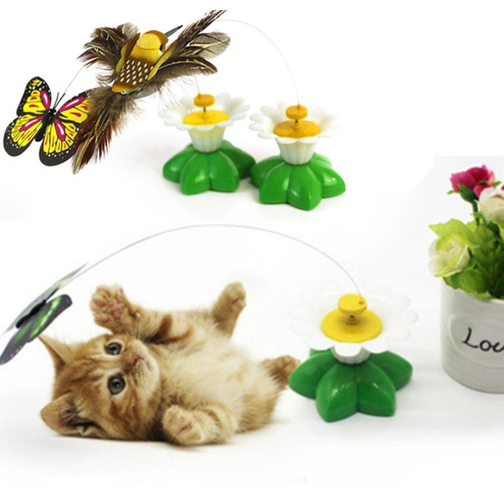 Lustige Hund Katze Spielzeug Schmetterling Elektrische Automatische Rotation Kolibri Fliegen Rotierenden Schmetterling Necken ToyPet Sitz Scratch Spielzeug