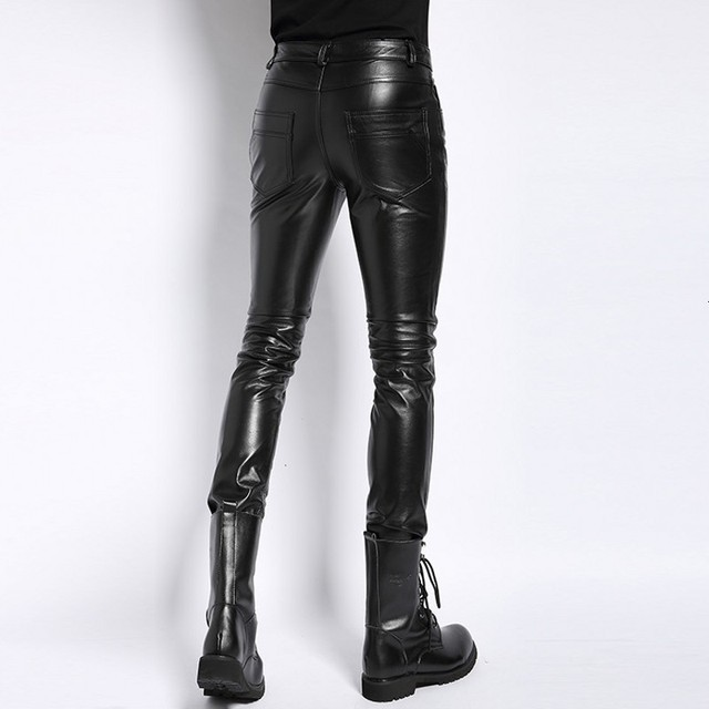 Plus Size 6XL Mens Pantalon Autumn 2020 New Fashion Real Leather Trousers Motorcycle Casual Slim Fleece Lining Warm Pants Male 2