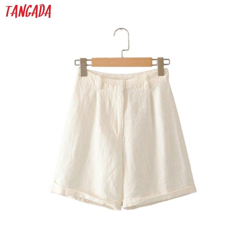 2020 Summer Women Elegant Linen Shorts White Solid Zipper Pockets Female Retro Basic Casual Shorts Pantalones 2M84