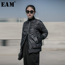 [EAM] Loose Fit Pleated Warm Down Jacket 새로운 후드 긴 소매 따뜻한 여성 Parkas Fashion Tide 봄 가을 2020 19A-a823(China)