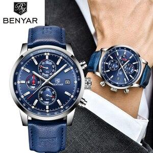 Image 1 - BENYAR montre à Quartz pour hommes, nouvelle marque militaire de luxe, chronographe, montre daffaires, horloge en cuir pour hommes