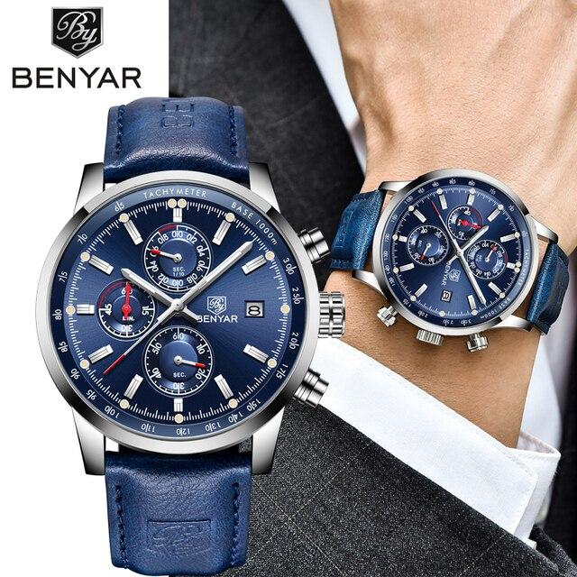 Часы BENYAR Мужские кварцевые в стиле милитари, роскошные брендовые деловые модные с хронографом и кожаным ремешком