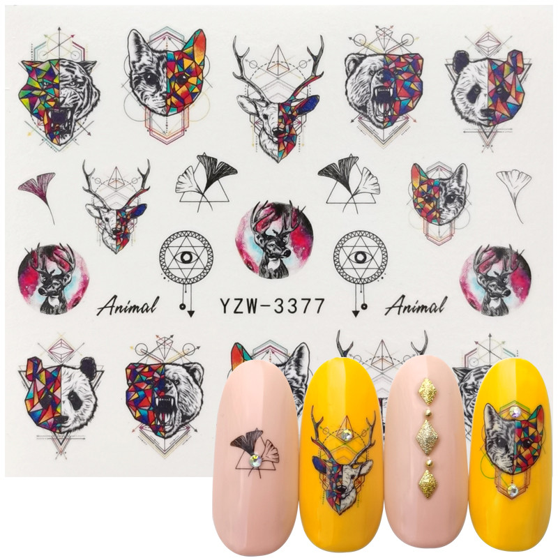 Nail Water Decals Animals Geometric Patterns Mixed Pattern Transfer Sticker Nail Art Decoration DIY Design Tool Accessories