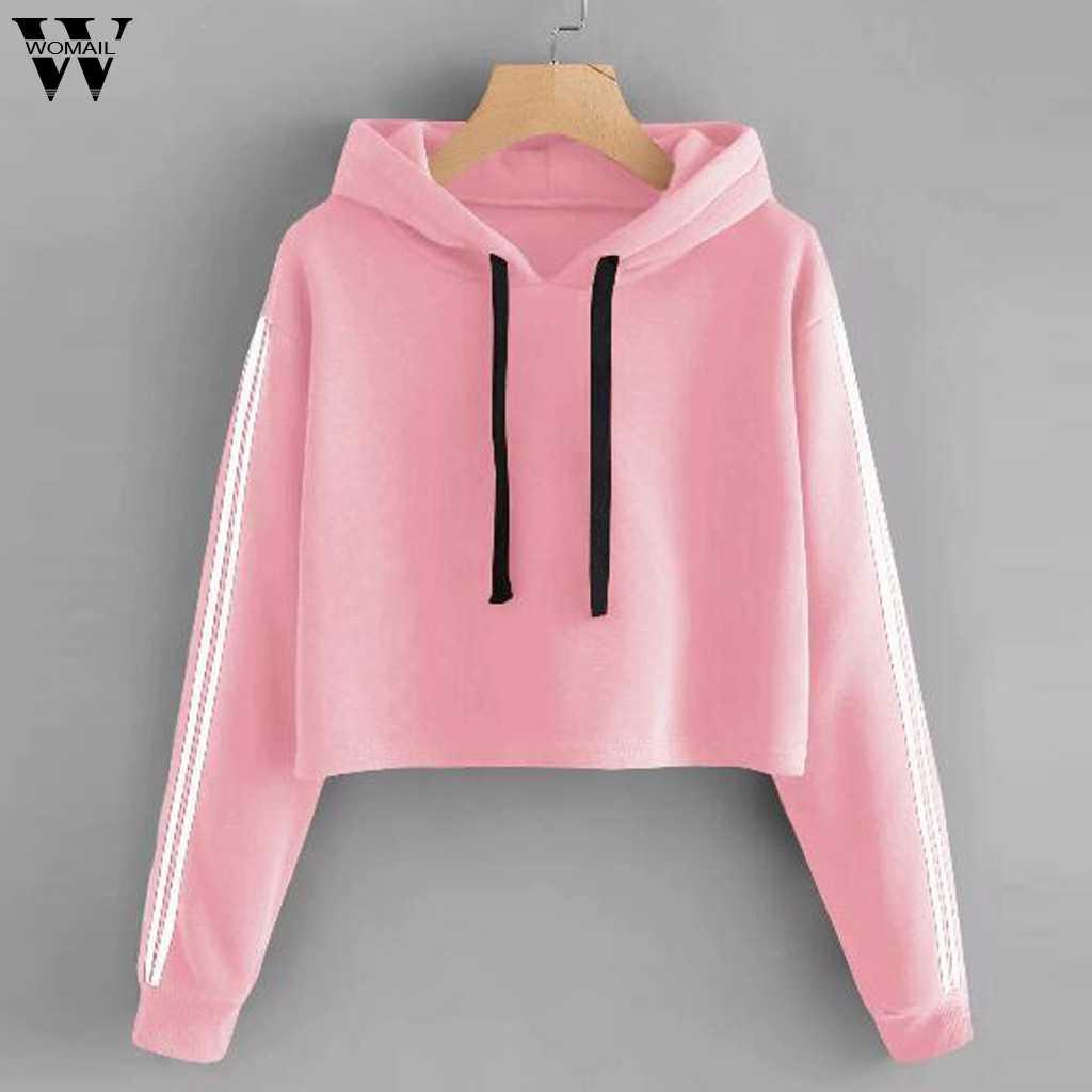 Womail Sweatshirts 여성 패션 긴 소매 가을 솔리드 레이스 업 Drawstring 인쇄 캐주얼 Sudadera Mujer 여성 운동복