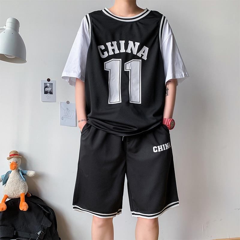 Basketball Clothes Suit Men's Handsome Half-sleeve Shirt Mock Two-Piece Short Sleeve Shirt Summer Training Sports Students Unifo