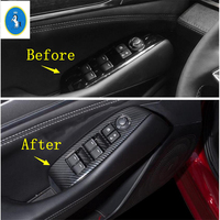 Yimaautotrims Auto Accessory Door Handle Holder Window Lift Button Switch Cover Trim Fit For Mazda 6 2019 2020 ABS Carbon Fiber