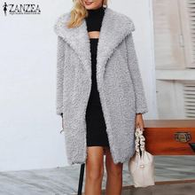 ZANZEA Winter Plush Fluffy Coats Women Lapel Neck Open Front Faux Fur Warm Jackets