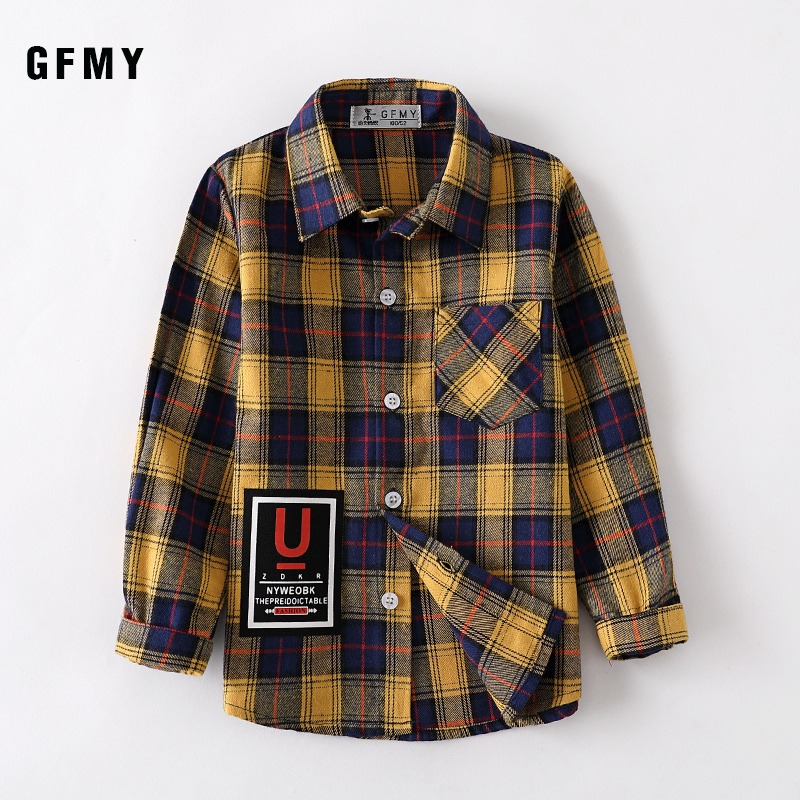 GFMY 2019 Autumn 100% Cotton Full Sleeve Fashion Plaid Boys Shirt 2T-14T Casual Big Kid Clothes Can Be a Coat
