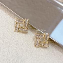 MENGJIQIAO 2021 Korean New Fashion Zircon Square Stud Earrings For Women Girls Cute Geometric Pendientes Jewelry Gifts