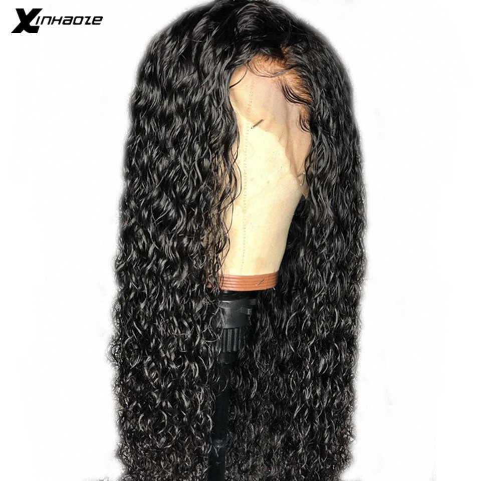 خصلات الشعر المستعار البشري الجبهة موجة المياه 13X6 قبل قطعها مع شعر الطفل ريمي الماليزي الرطب ومائج جزء عميق خصلات الشعر المستعار الإنسان