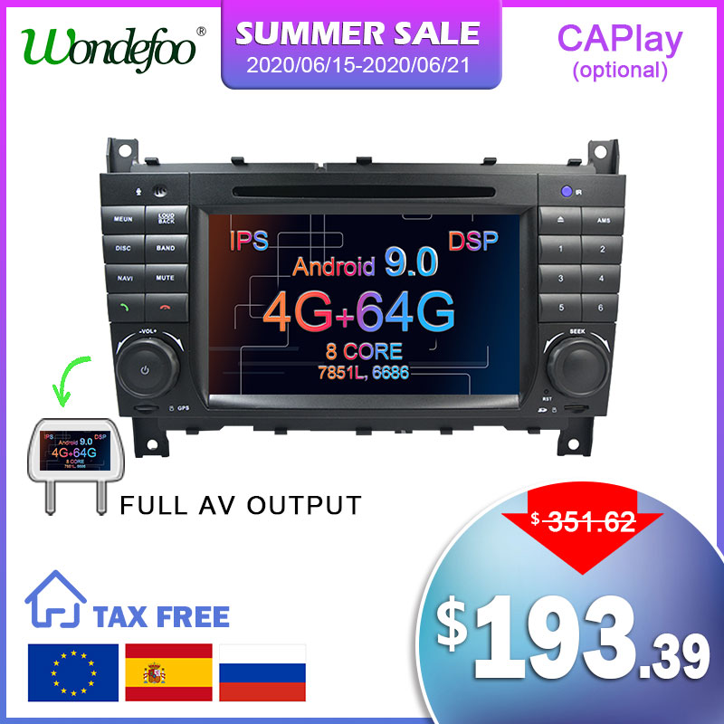 Android 9.0G 64 4G 2 DIN GPS Carro DVD Para Mercedes/Benz W203 W209 W219 W169 A160 C180 C200 C230 C240 CLK200 CLK22 rádio estéreo