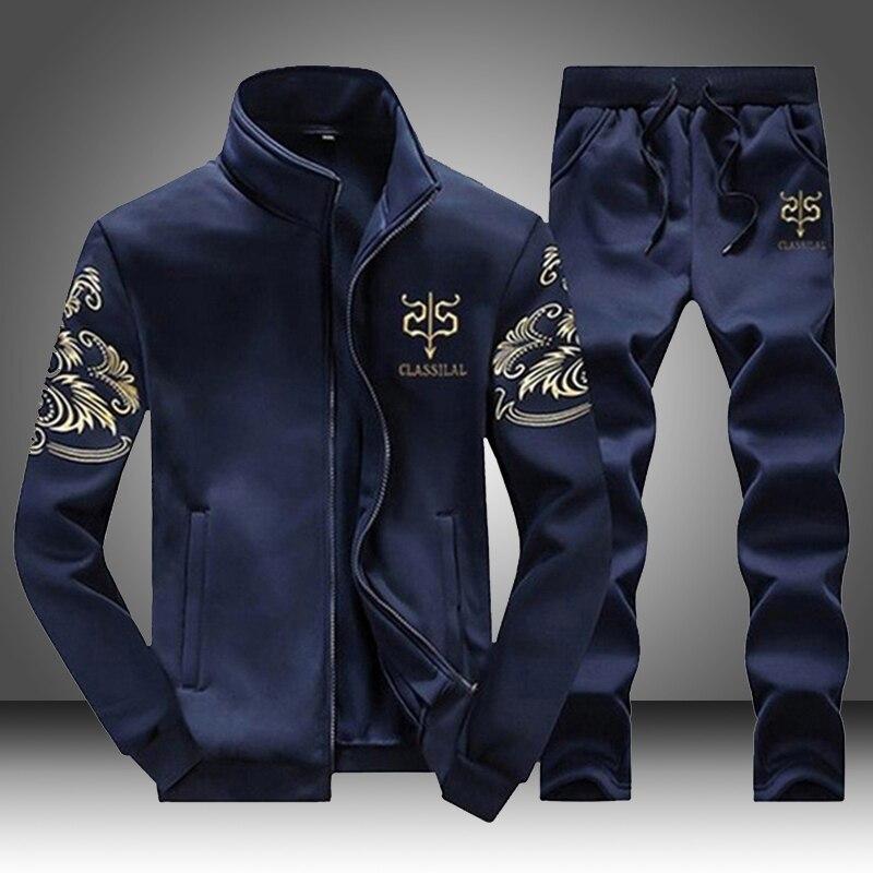 EU SIZE Men Tracksuit Set Running Sports Fitness Sportswear Male 2 Pieces Sweatshirt+pant Mens Clothing Chandal Hombre Plus Size