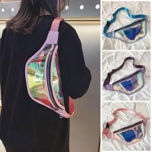 Women Holographic Rainbow Fanny Pack Pink Waist Pouch Transparent Bum Bag