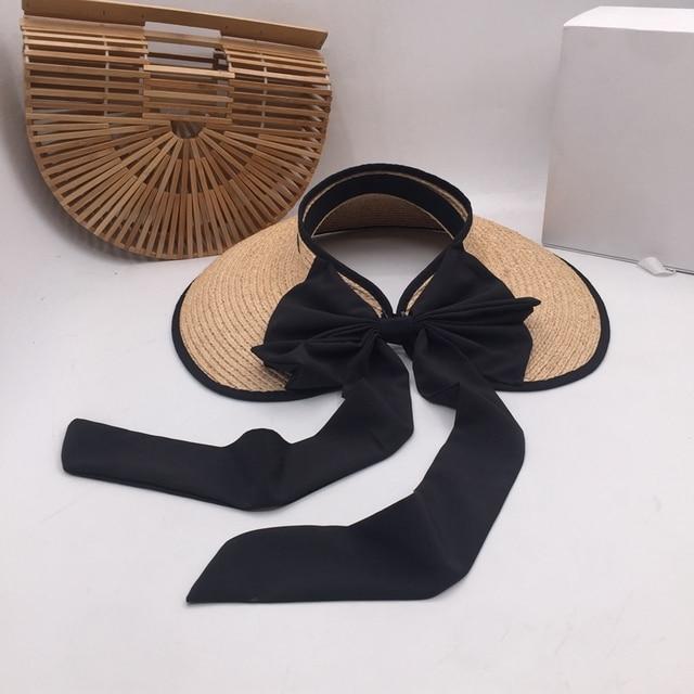 ラフィット草トップ帽子夏の韓国語バージョンのフォールディングサンシェードわら帽子リボン弓日焼け帽子太陽帽子