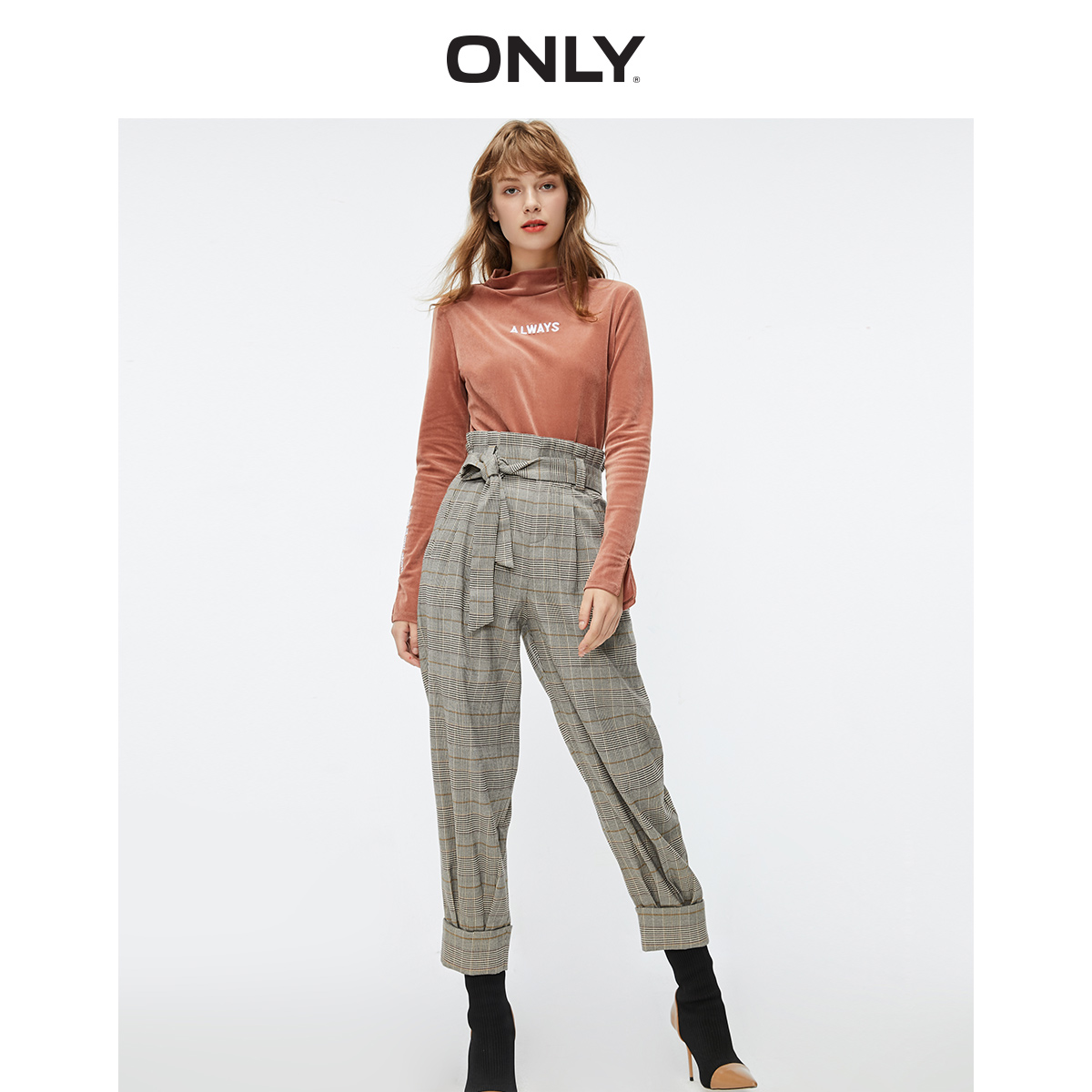 ONLY Women's  Loose Fit High-rise Checked Crop Pants | 119450506
