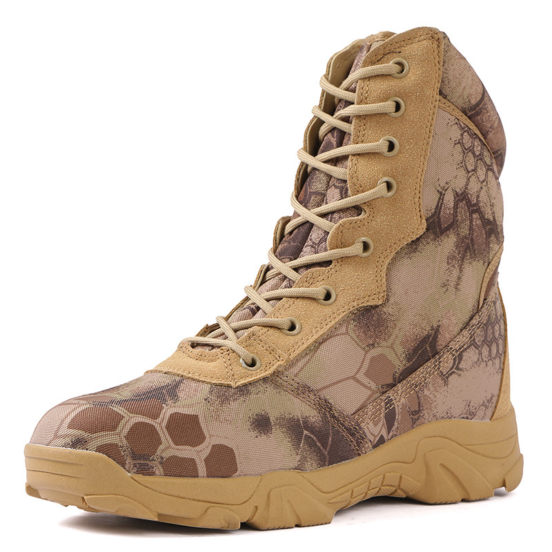 Combat Boots Autumn And Winter Outdoor Python Camouflage Snowfield Big Dumb Combat Boots Tactical Military Shoes Waterproof And
