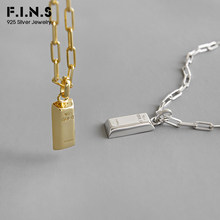 F.I.N.S S925 Sterling Silver Necklace INS Simple Geometric Square Gold Brick Shape Clavicle Chain Silver 925 Pendant Necklace(China)