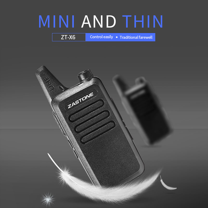 Zastone X6 Mini Walkie Talkie  UHF 400-470 Mhz Frequency Portable Handheld Radio Station Two-Way Ham Radio