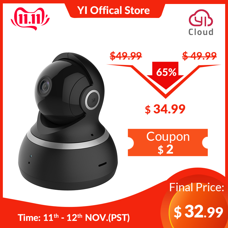 YI Dome Camera 1080P Pan / Tilt / Zoom Wireless IP Security Surveillance System Komplet 360 graders dækning Nattsyn sort