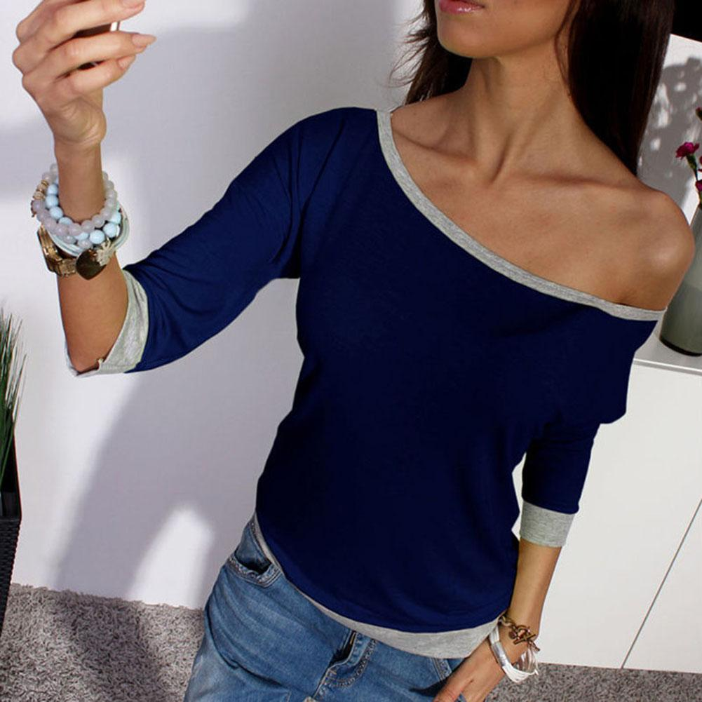 t shirt women Fashion <font><b>Hit</b></font> color T-Shirt <font><b>Sexy</b></font> Off-the-shoulder One Shoulder Cropped Sleeve Top Casual Slim Stretch Cotton Pullove image