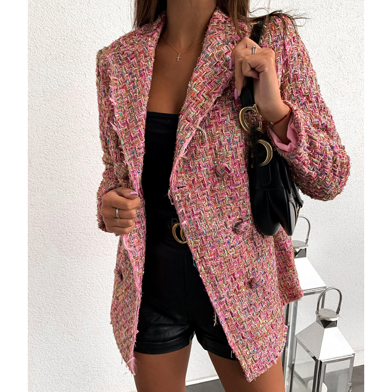 Plaid Double Breasted Blazer Women Long Sleeve Turn Down Collar Slim Jacket Coat Elegant Office Women Blazers And Jackets