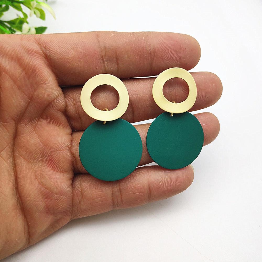Fashion Jewelry Pendant Earrings Matte Gold Round Geometric Earrings Hanging 25mm Spray Paint Large Earrings For Women Jewelry